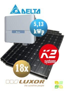 Sistem fotovoltaice complet - 18 panouri fotovoltaice LUXOR 280wp și Invertor cu WiFi de 5,13 kWp DELTA