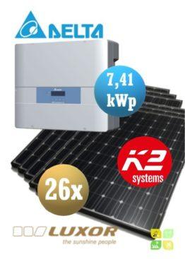 Sistem fotovoltaice complet - 26 panouri fotovoltaice LUXOR 280wp și Invertor cu WiFi de 7,41 kWp DELTA