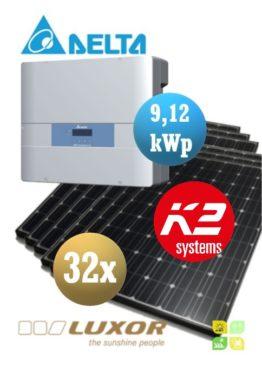 Sistem fotovoltaice complet - 32 panouri fotovoltaice LUXOR 280wp și Invertor cu WiFi de 9,12 kWp DELTA